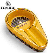 COHIBA Cigar Gadgets Ceramic Ashtray Single Holder Round Ash Slot 4 Colors Yellow Tobacco Cigarette Gift Box