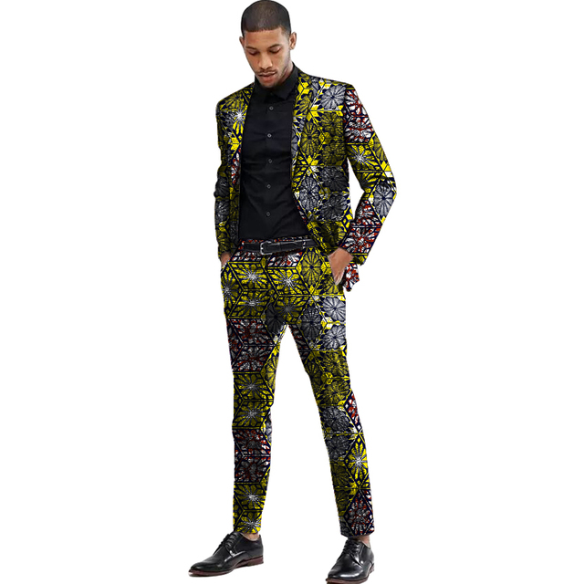Africa Style Men Suits Dashiki Print Suit Jacket And Pant  3