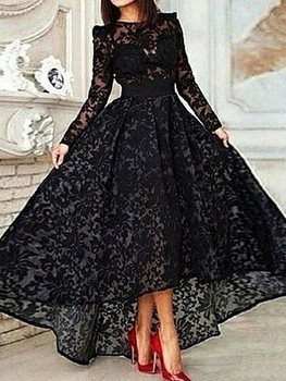 цена на Vintage Long Sleeves Asymmetrical Scoop Lace Prom Dresses 2019 Black Evening Dress Formal Dress Party Dresse robe de soriee