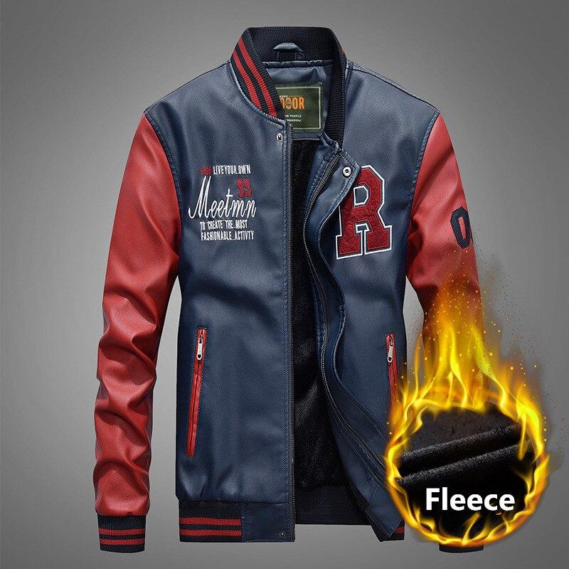 Мужская бейсбольная кожаная куртка вышитые ПУ куртки мотоциклиста Slim Fit колледж флисовые шикарные куртки мужская верхняя куртка с воротником стойкой