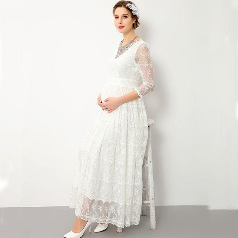 Weiß Spitze Umstandskleid für Foto Schießen Mutterschaft Fotografie ...