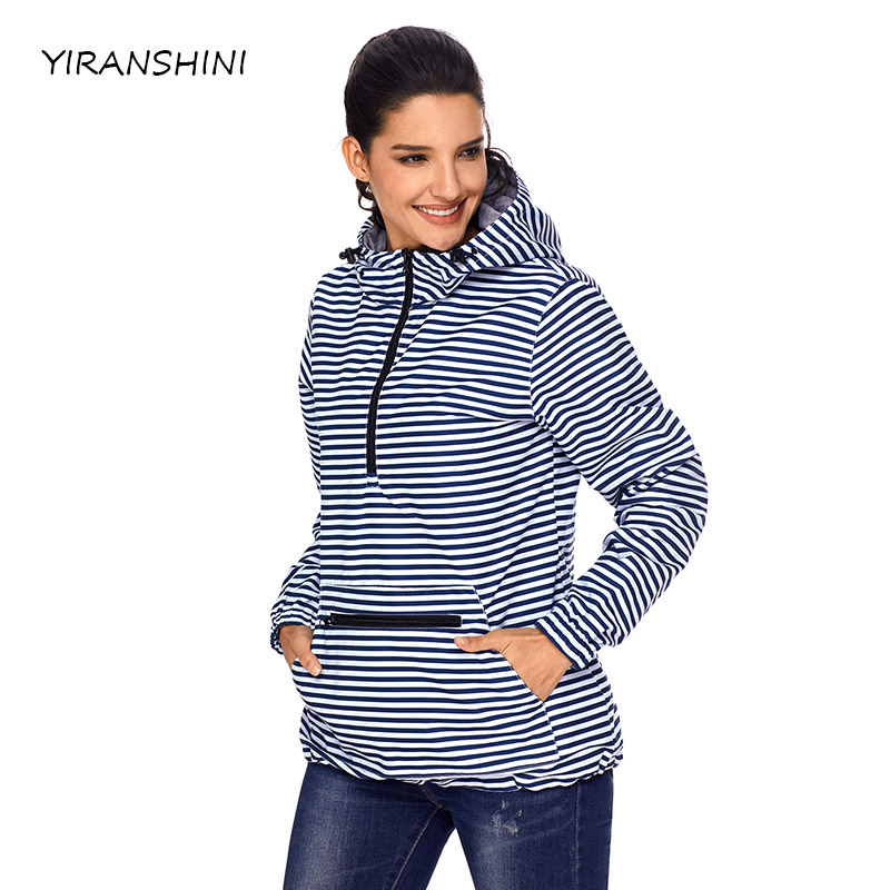 YIRANSHINI 2018 Fashion Trench Coat Long Sleeve Hooded Monogrammed Pullover Rain Trench  ...