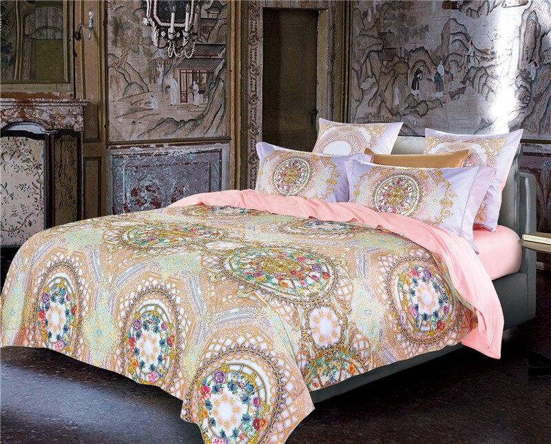 100S Egyptian Cotton Bohemia Mandala Bedding set Queen King size Duvet cover set 4/6Pcs Bed cover Bedsheet set Pillowcases