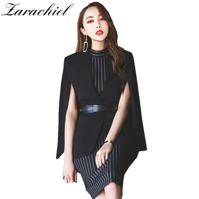 7432e71570a Zarachiel Autumn Winter Two Piece Set 2019 Women Black Shawl Poncho Blazer  Suit Jacket Cloak + Striped Sleeveless Bodycon Dress