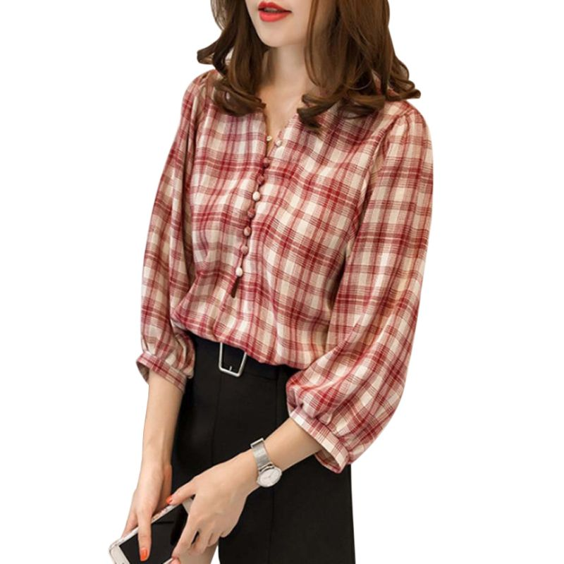 Loose V-neck Plaid College   Blouses     Shirt   Female Lantern sleeve Casual Button Tops Plus Size M-4XL