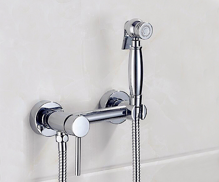 Exempt from Drilling Cold and Hot Bathroom Shower Toilet Jet Cleaner Portable Bidet Shower Spray Brass Wall Mount Faucet BD666 smart thermostatic bidet mixer spray shower set faucets bathroom hot cold water hand held toilet bidet spray gun chrome in wall