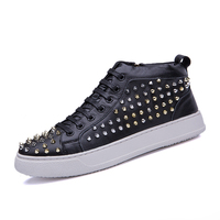 New British style trends high Boots Men Sneaker high quality personality men's Flat shoes plate shoes Rivets tide shoe men