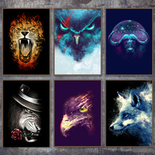 Leopard Wolf Eagle Jellyfish Animal Print Nordic Posters And Prints Wall Art Canvas Painting Pictures For Living Room Decor