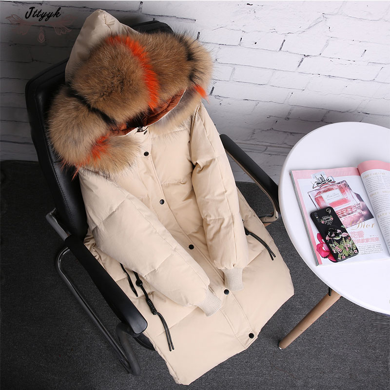 Winter Womens down jackets Warm Coat 2018 90% white duck Down coat Parkas large real raccoon fur Hooded Parka Female Outerwear ...