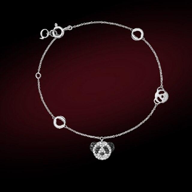 f101967ac577 Cabeza de oso encantador animal Plata de Ley 925 pulsera Panda oso animal  mujeres boda joyería