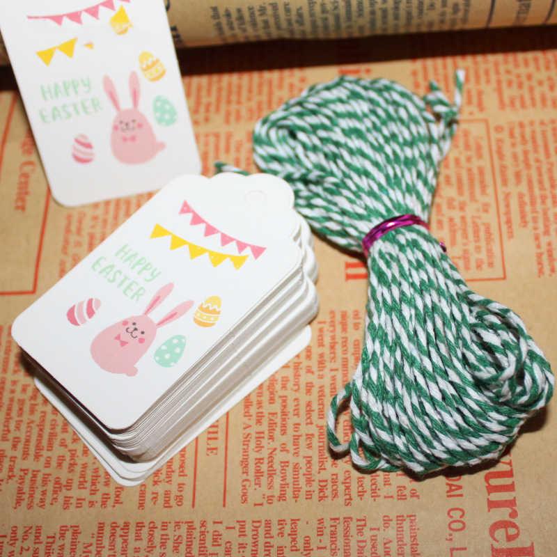 50pcs x Easter Rabbit Kraft Paper Tags Labels DIY Wedding Craft Gift Tag Decor