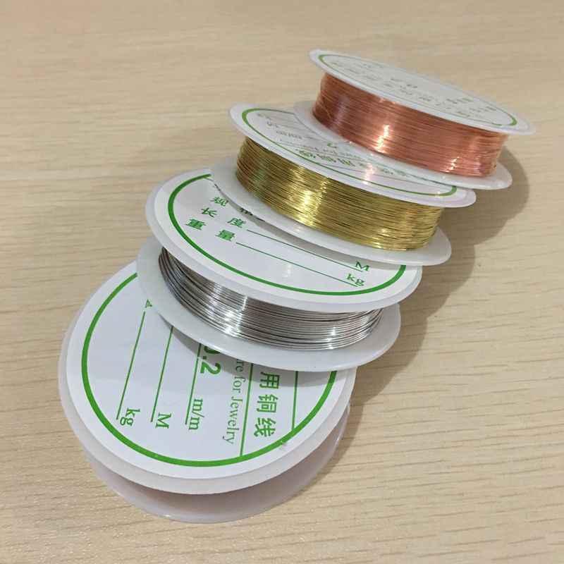 0.2/0.25/0.3/0.4/0.5/0.6/0.7/0.8/1mm 1 Rolo liga De Prata Cordão Banhado A Ouro DIY Artesanato Beads Corda Fios de Cobre Beading Fio