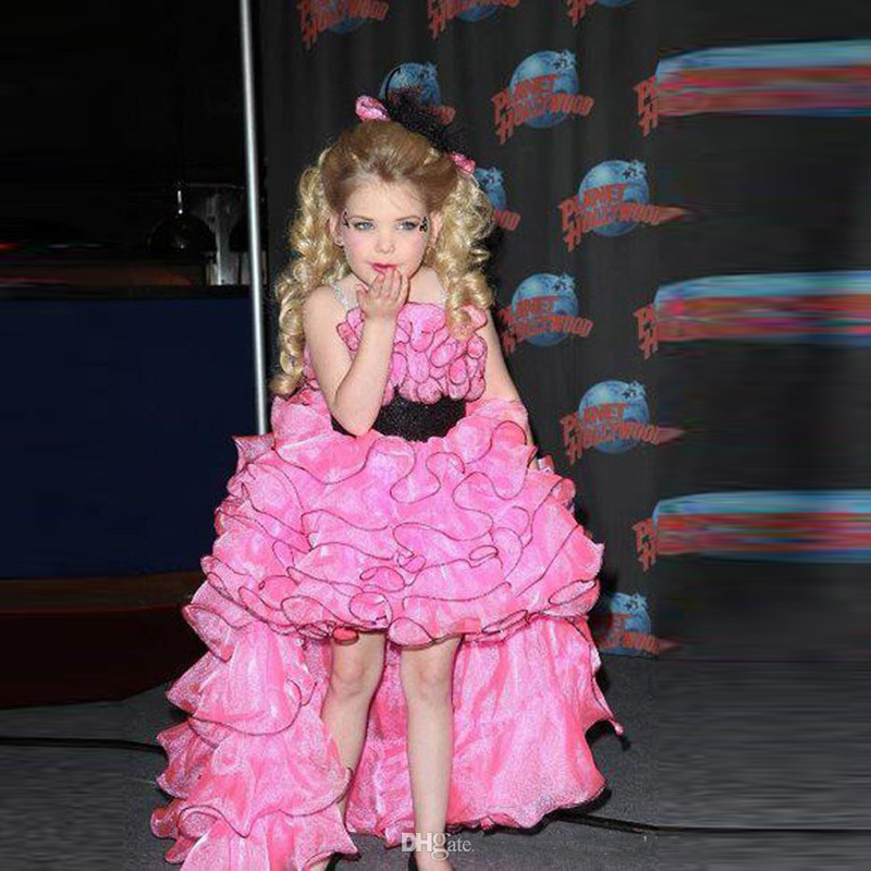 New Fashionable High Low Hot Pink Layered Lovely Ball Gown Girl Pageant Dresses Little Flower Children Dress