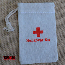 Hangover Kit Cotton Gift Pouch 7x9cm 8x14cm 9x12cm 10x15cm 15x20cm pack of 20 Wedding Party Favor Holder Mulin Linen Bag