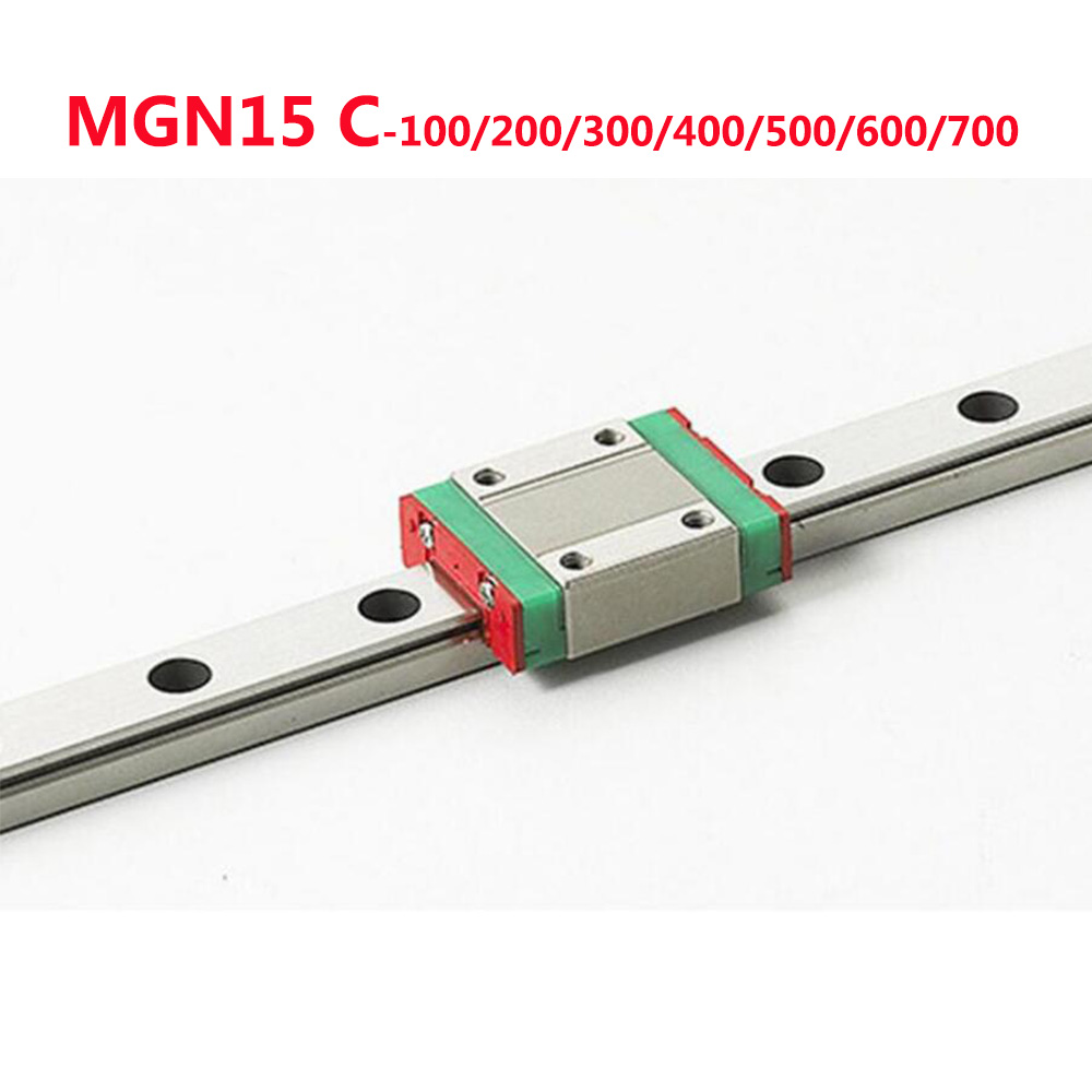 1PC MGN15 Linear Rail Guide Width 15mm Length 100 200 300 400 500 600 700 mm with 1PC Linear Block MGN15C