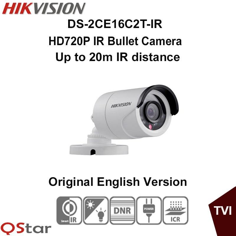 Hikvision Original English Version DS-2CE16C2T-IR HD720P IR Bullet Camera 1.3MP up to 20m IP66 weatherproof CCTV Camera hikvision original english version ds 2ce16d1t irp hd1080p ir bullet camera 2mp ip66 weatherproof up the coax cctv camera