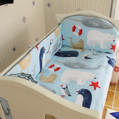 Promotion! 5PCS Newborn Baby Bedding Set ,cotton Crib Bedding Set Bedclothes ,include:(bumpers+sheet)