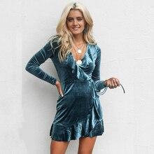 Ukraine New Special Offer Cotton A-line Maxi Dress 2019 Sexy V-neck Ladies Velvet Irregular Long-sleeved Solid Color Mini