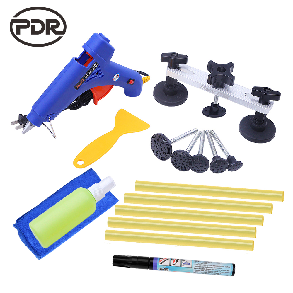 PDR Auto Repair Tool  Removal Dent Puller Tabs Hand Tool Set With Glue Sticker Glue Gun Rubber Shovel For 1-9cm Car Dent Repair