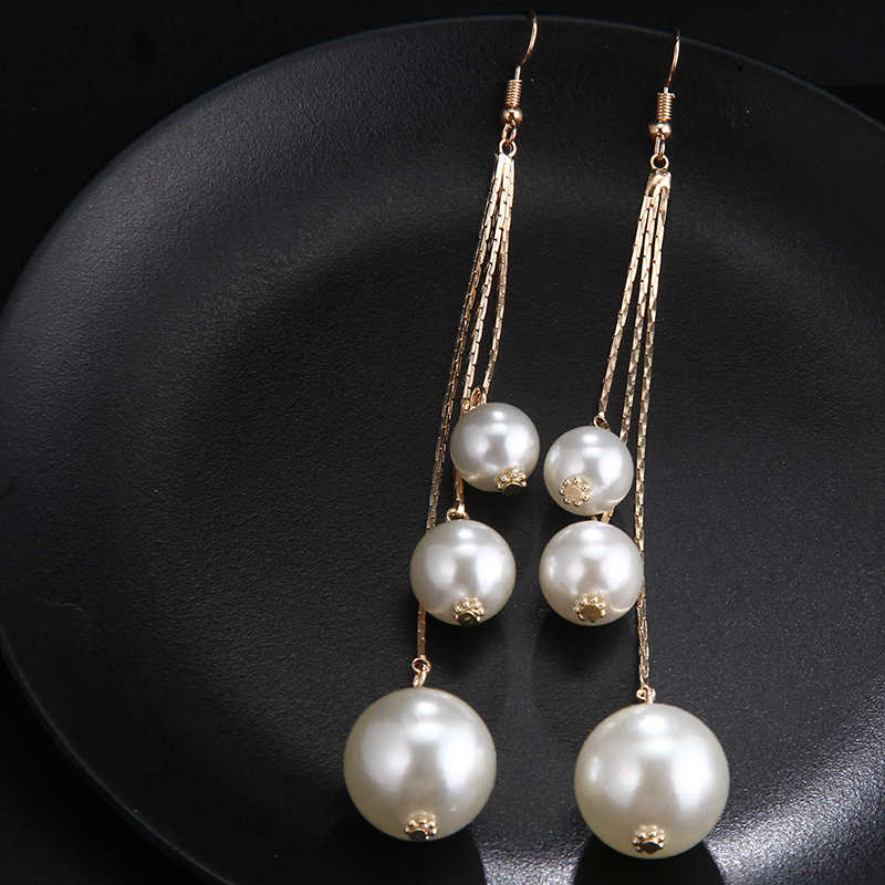 RscvonM 2018 New Arrival Hot Brand Simulated Pearl Earrings for Women Statement Jewelry Wedding Fashion Dangle Drop Earrings