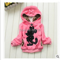 2015 Baby girls coat Hooded Jacket Children winter warm Coat Long Sleeve Pullover Sweater 3Colors 2-7Y