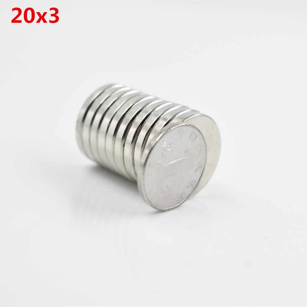 """5 יחידות Neodymium מגנט 20x3 מ""""מ גליום מתכת קטן עגול חזק מגנטים 20*3 מ""""מ Neodimio אלקטרומגנט דיסק מקרר מגנטים רמקול"""