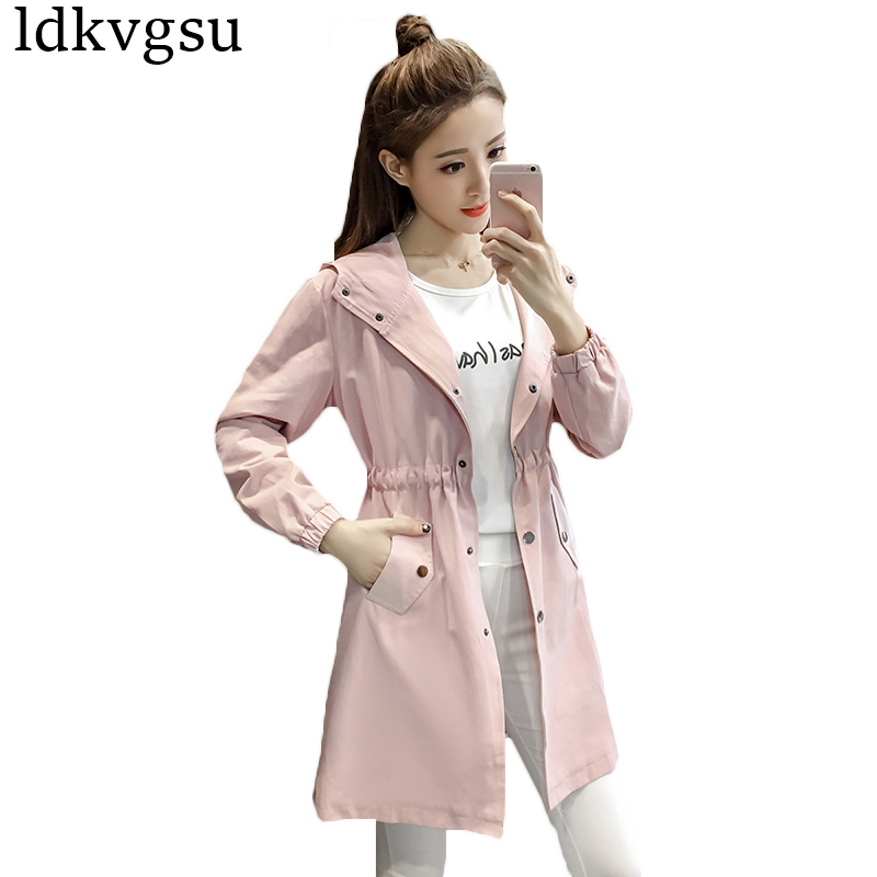New Fashion 2019 Spring Autumn Women's Long   Trench   Coats Korean BF Slim Long Sleeve Hooded Outerwear Girl Windbreaker Coat A476