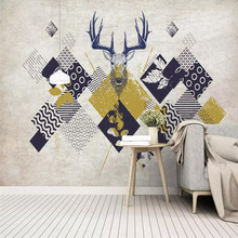 Nordic wallpaper simple modern triangle geometry deer head TV background wall professional production mural covering