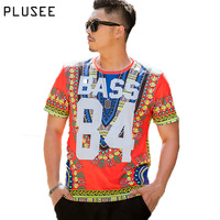 Plusee Men Casual T Shirt Summer Polyester Loose Short Sleeve Round Neck Print Letter Bass 84