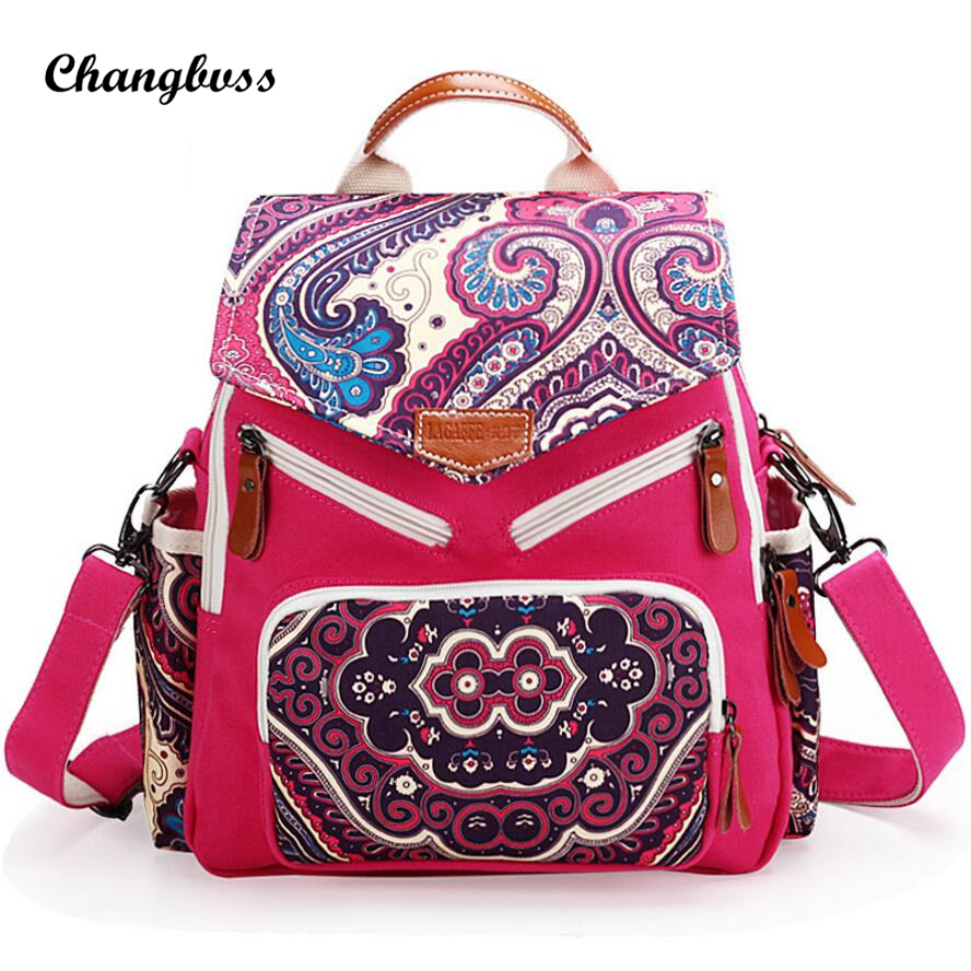 National Printed Cute Monsters Women Backpack Unique Canvas Backpacks For Teenage Girls Multi Pocket Mommy Bag