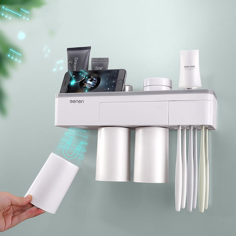 Image 2 - Toothbrush holder bathroom accessories toothpaste storage organizer glass for toothbrushes shelf magnetic adsorption With cup-in Bathroom Accessories Sets from Home & Garden