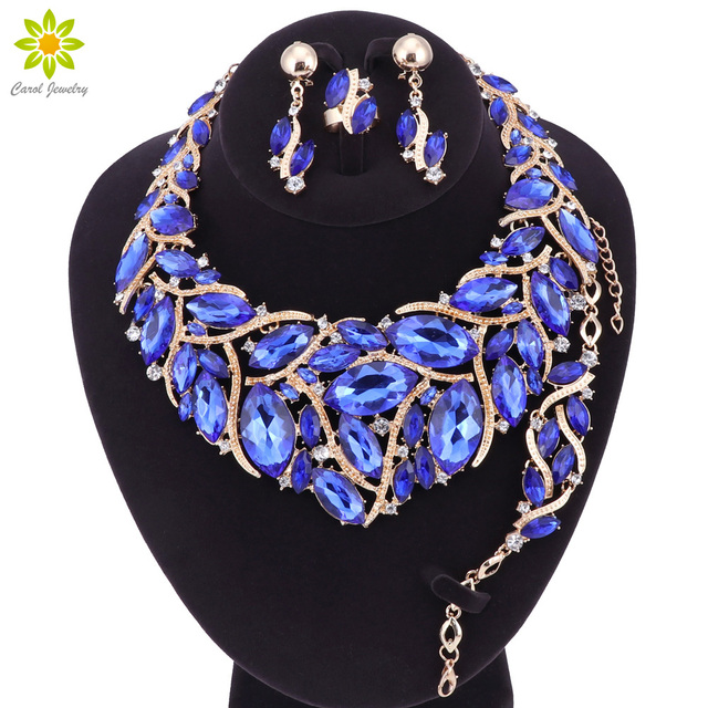 Fashion Bridal Jewelry Sets Wedding Necklace Earring Bracelet Ring For Brides Pa