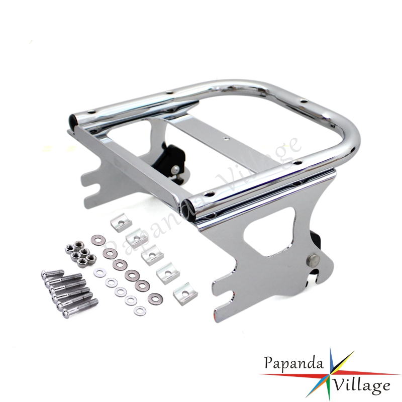 Papanda Motorbike Chrome Detachable Two Up Mounting Luggage Rack for Harley Touring Road King Street Electra