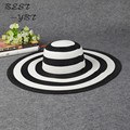 Hot New Korean version Black and white keys summer beach cap large brimmed straw sun bucket  hat visor summer hats for women