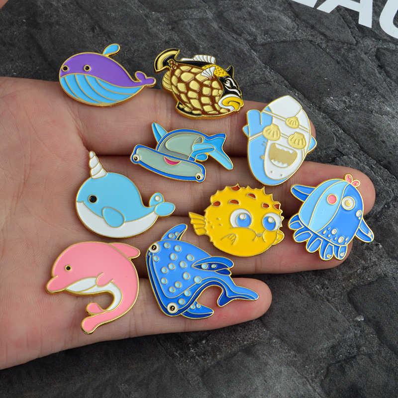 海洋生物ピン海クジラサメイッカクタコエナメルピンバッジピンクイルカラペルピンブローチシャツバッグジュエリー女性ギフト