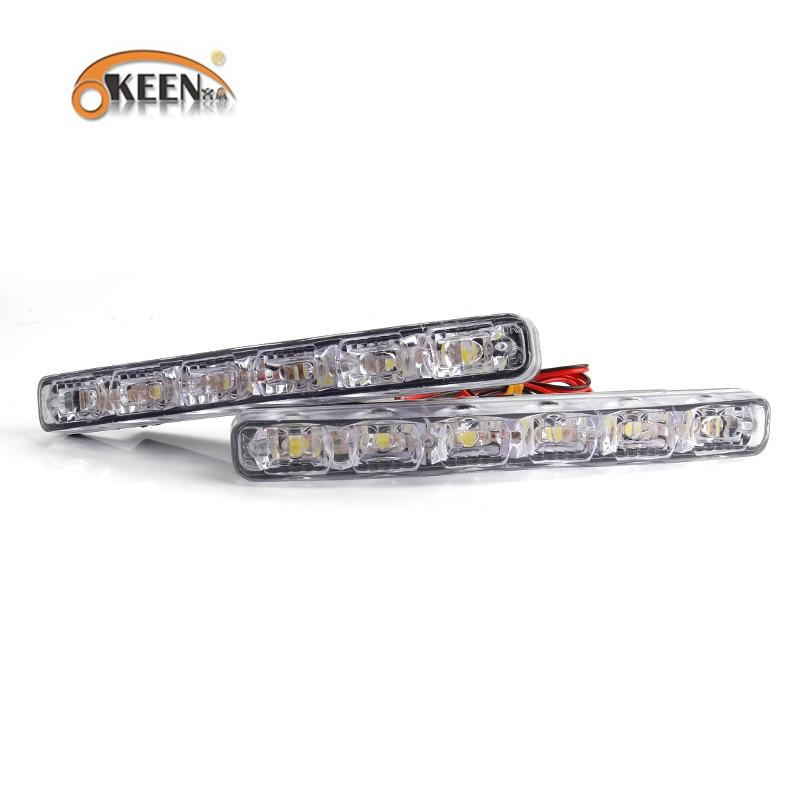 OKEEN 2PCS Kereta LED Daytime Running Lights DRL 6 LED DC12V 6000K - Lampu kereta - Foto 2