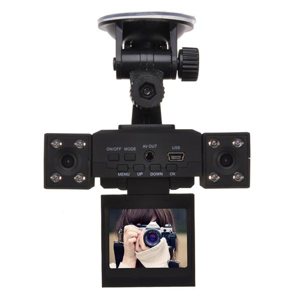 Prix pour H3000 Double Lentille Voiture DVR 2.0 pouce TFT LCD 270 Degrés Écran Rotatif et Objectif 8 LED IR Nuit Vision Double Caméra De Voiture Boîte Noire DVR
