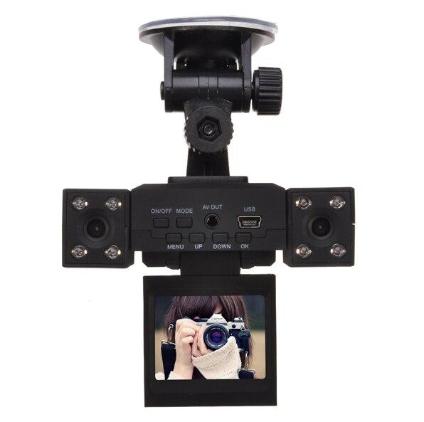 imágenes para H3000 Lente Dual Del Coche DVR de 2.0 pulgadas TFT LCD 270 Grados de Rotación de Pantalla y La Lente 8 LED INFRARROJOS de Visión Nocturna Cámara Dual Del Coche DVR Cuadro Negro