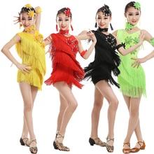 Kids Sequins Tassels Competition Dance Latin Dress Girls Gymnastics Practice Party Dancing Dress Stage Wear Dancewear Costumes