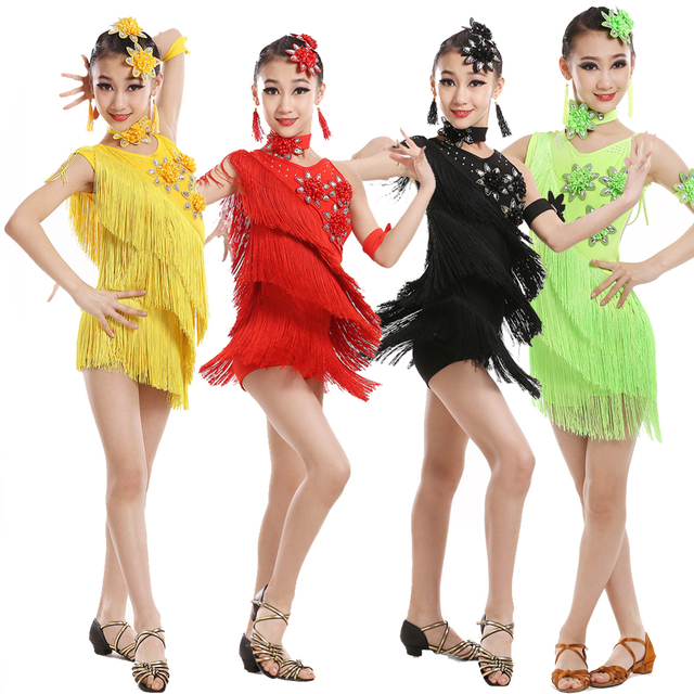 Vestido de competición con borlas y lentejuelas para niños, baile latino, práctica de gimnasia, fiesta de baile, escenario