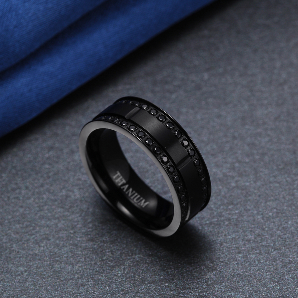 35d6b56270ff9d 8mm Black Titanium Ring Men Wedding Bands Cubic Zirconia Engagement Rings  For Man Male Fashion Jewelry homme bague Aneis Anillo -in Wedding Bands  from ...
