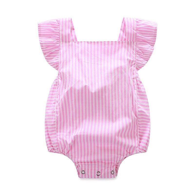 Детские Комбинезоны для малышек Обувь для девочек одежда Лето 2017 г. милые детские для маленьких девочек полосатый розовый девочка комбинез...