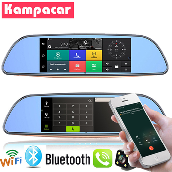 Kampacar Drive Registrar Auto Video Recorder For Cars Android 3G GPS Car Dvr Wifi Bluetooth Rearview Mirror With Camera Two DVRs
