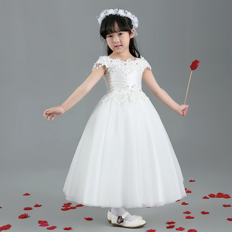 Luxury long design ball gown princess dress 2016 new kids girls dress shoulderless flower girl dresses for wedding costumes