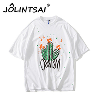 2017 New Arrival Men Splash Paint T Shirts Mens Short Sleeve Graphic Tshirts Cactus Print Stretch