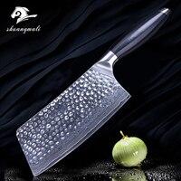 Кухня Ножи 7 дюймов рубящий нож 67 слоев VG10 Дамаск Сталь G10 ручка Nakiri Кливер Пособия по кулинарии Ножи кухонный режущий инструмент