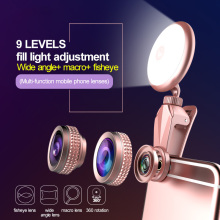 Phone Lens 3in1 Led Flash lights with Wide Angle+50X Macro Lens 9 Levels light kit Camera Lens for iPhone 7 6 iPad Huwawei XiaMi