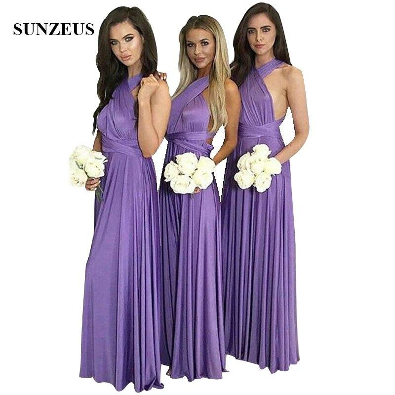 Brautjungfernkleid Long Jersey   Bridesmaid     Dresses   Purple A-line Simple Party Gowns With Straps robe demoiselle d'honneur
