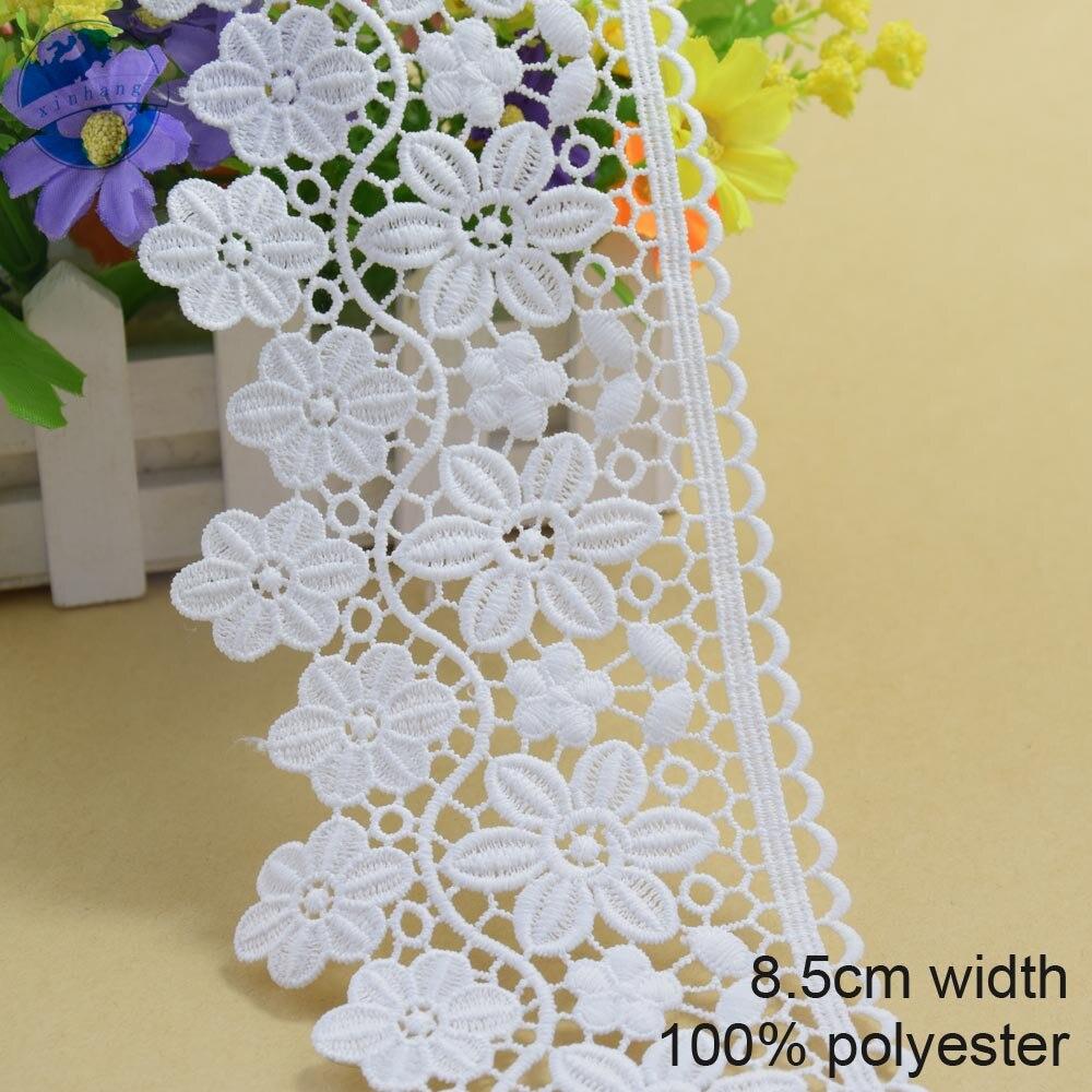 8,5 cm weiß polyester embroid nähen band guipure-spitze trim oder stoff wirkerei DIY Bekleidungs Zubehör freies verschiffen #3697