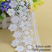 8.5cm white polyester embroid sewing ribbon guipure lace trim or fabric warp knitting DIY Garment Accessories free shipping#3697